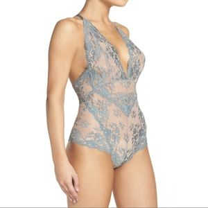 Free People Too Cute To Handle Lace Bodysuit Blue